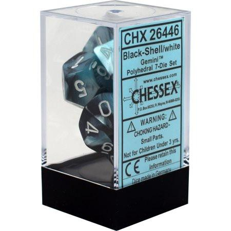Chessex Dice - Gemini Black-Shell with White - Set of 7 (CHX 26446) Chessex | Cardboard Memories Inc.