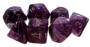 Chessex Dice - Vortex Purple with Gold - Set of 7 (CHX 27437) Chessex | Cardboard Memories Inc.