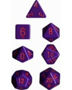 Chessex Dice - Opaque Purple with Red - Set of 7 (CHX 25417) Chessex | Cardboard Memories Inc.