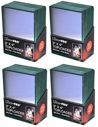 Ultra Pro Top Loaders - 3x4 Green Border (4-Pack Combo) Ultra Pro | Cardboard Memories Inc.