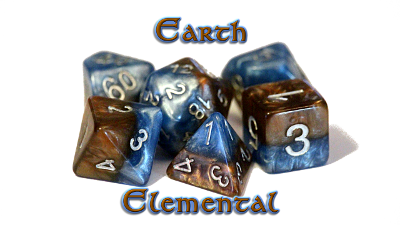 Halfsies Dice - Cerulean Blue & Terran Brown (Earth Elemental) - Set of 7 Gate Keeper Games | Cardboard Memories Inc.