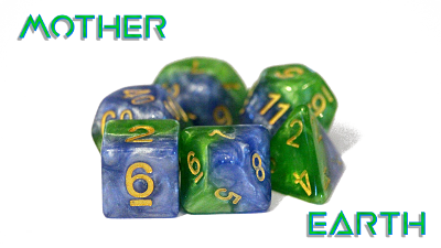 Halfsies Dice - Land Green & Sea Blue (Mother Earth) - Set of 7 Gate Keeper Games | Cardboard Memories Inc.