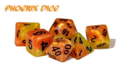 Halfsies Dice - Firey Orange & Phoenix Tail Yellow (Phoenix) - Set of 7 Gate Keeper Games | Cardboard Memories Inc.