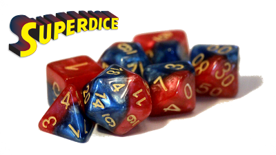 Halfsies Dice - Super Blue & Heroic Red (Superdice) - Set of 7 Gate Keeper Games | Cardboard Memories Inc.