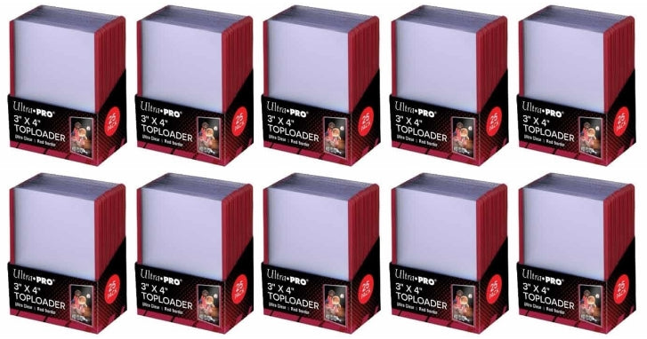Ultra Pro Top Loaders - 3x4 Red Border (10-Pack Combo) Ultra Pro | Cardboard Memories Inc.