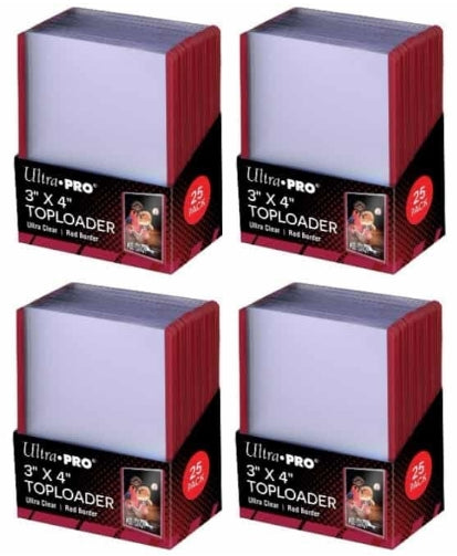 Ultra Pro Top Loaders - 3x4 Red Border (4-Pack Combo) Ultra Pro | Cardboard Memories Inc.