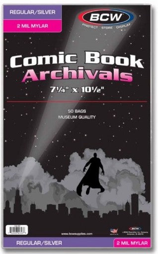 BCW - Regular/Silver Mylar Comic Book Bags - 2 Mil