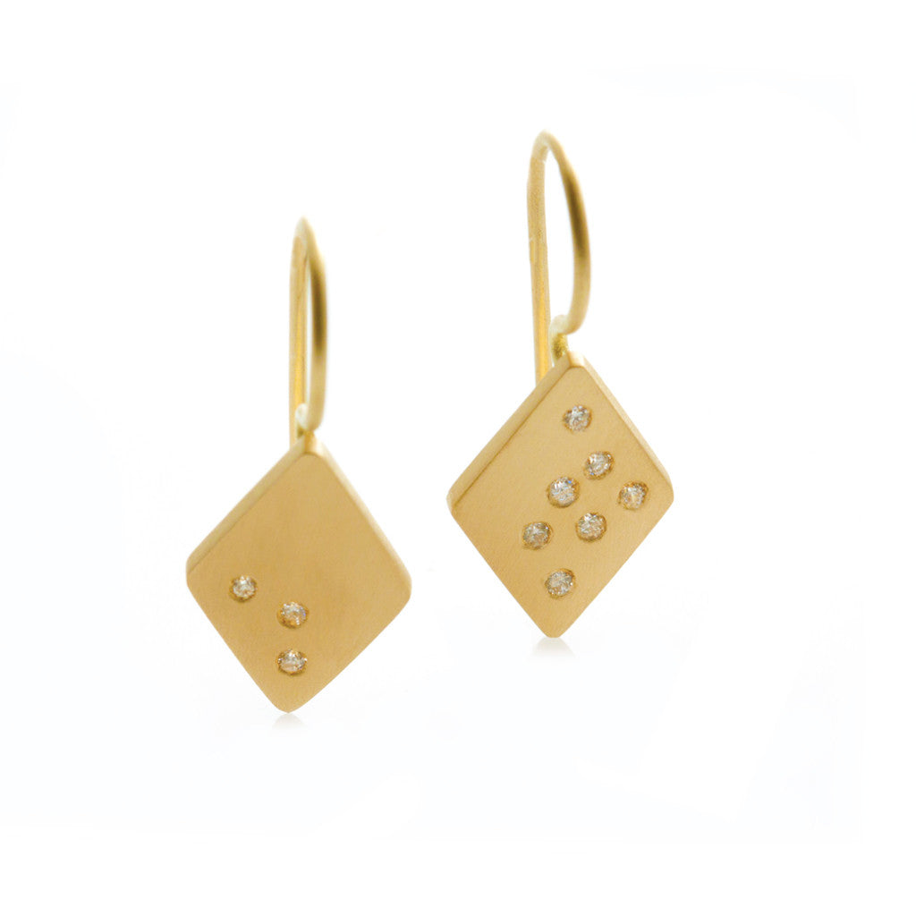 Speckled Earrings Diamond Shape - Yellow Gold