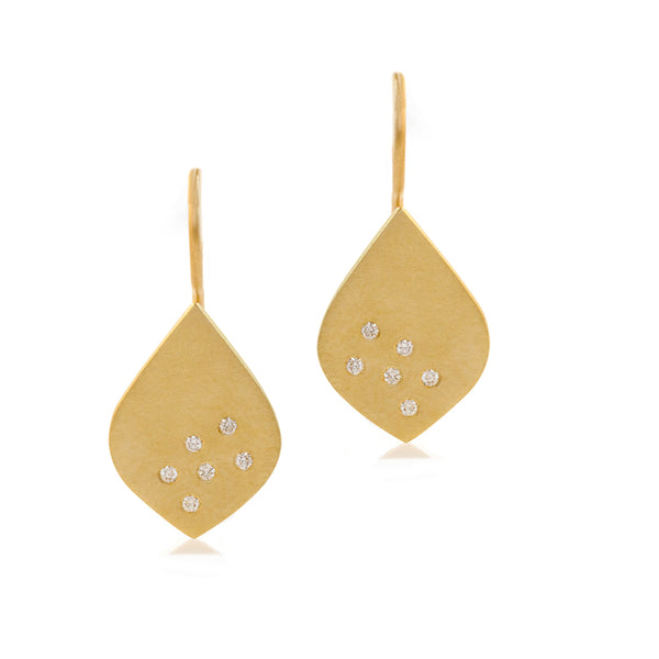 Speckled Teardrop Earrings - Yellow gold & diamonds