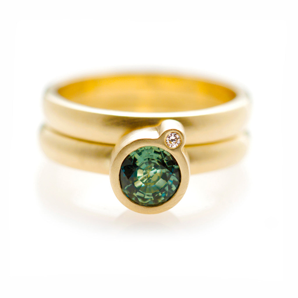 My Friend and I Ring - Yellow Gold & Green Sapphire
