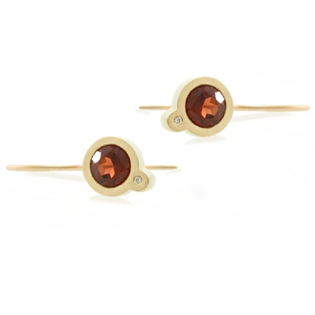 My Friend and I Earrings - Gold and Garnets