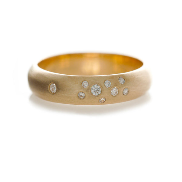 Scatter Band - Yellow Gold With Mixed Size Diamonds Ring