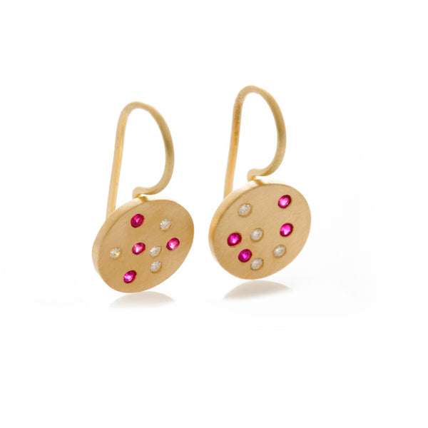 Speckled Earrings - Yellow Gold & Ruby