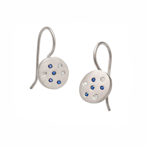 Speckled Earrings - White Gold & Sapphires