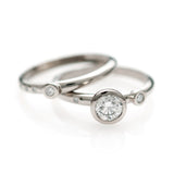 Confetti Ring & Wedding Band - White Gold