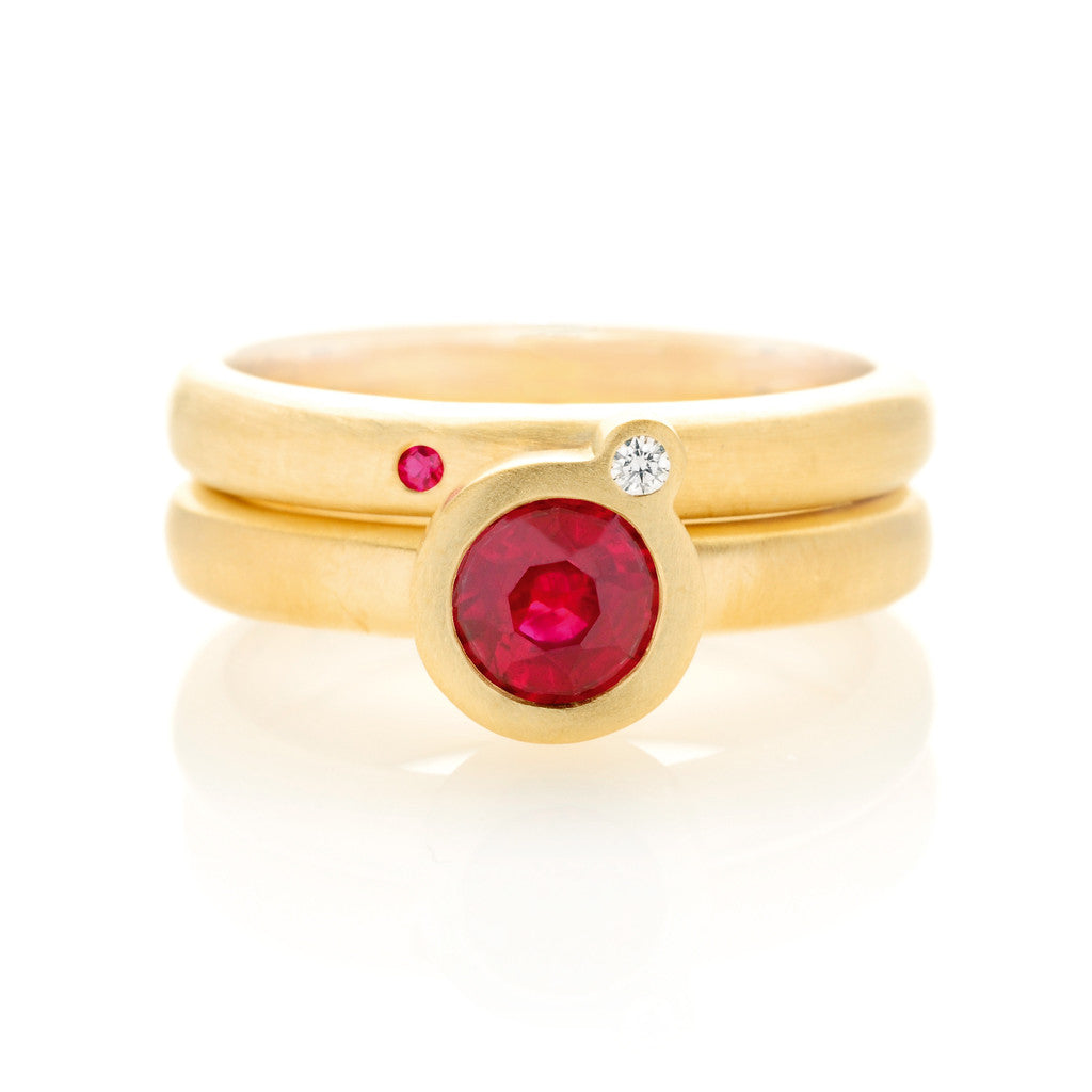 My Friend and I Ring  - Yellow Gold & Ruby