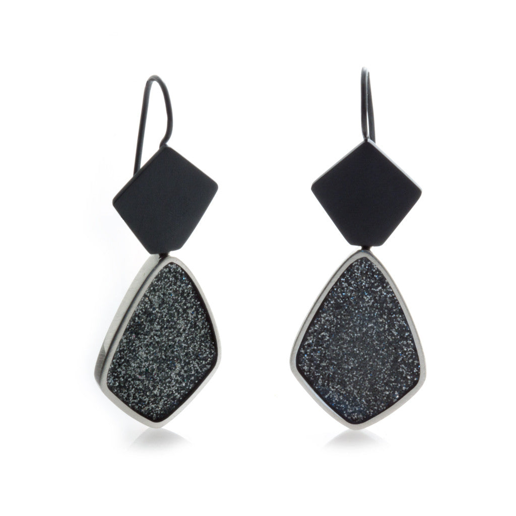 Charcoal Earrings - Diamond Shape