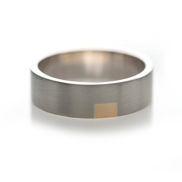 One Check Inlay Ring - Square