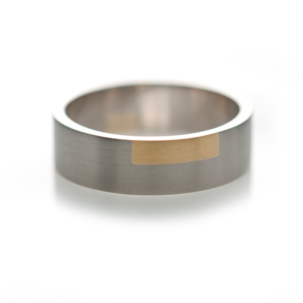 One Check Inlay Ring - Rectangular
