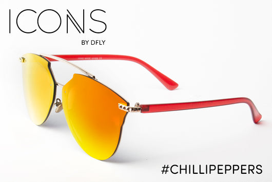 Icons Mirrored Sunglasses with a touch of Swarovski Crystals. Chilli Peppers Red Sunglasses