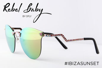 Cool Mirrored Sunglasses with Swarovski Crystals Ibiza Sunset