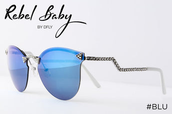 Cool Blue Mirrored Sunglasses with Swarovski Crystals