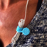 TwistieMag Baby Blue Earphone Cord Magnet Shirt Clip