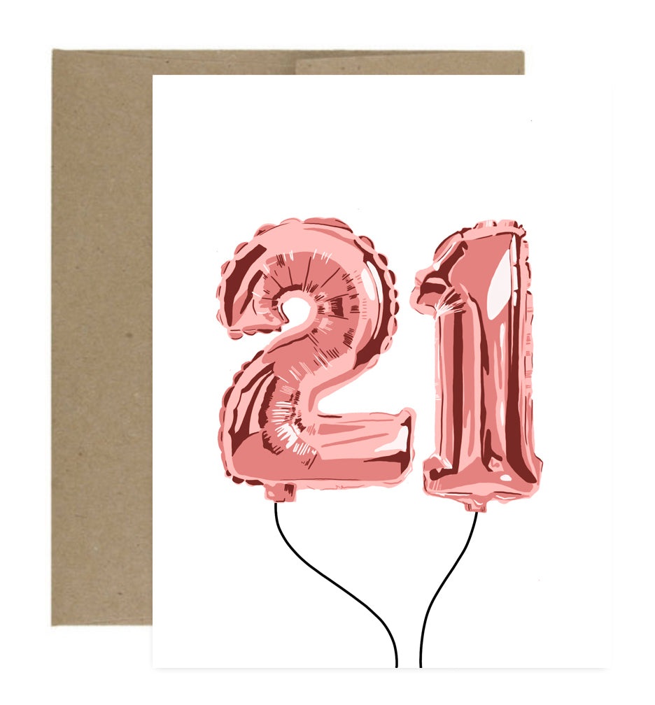 Customizable Rose Gold Balloon Birthday Greeting Card
