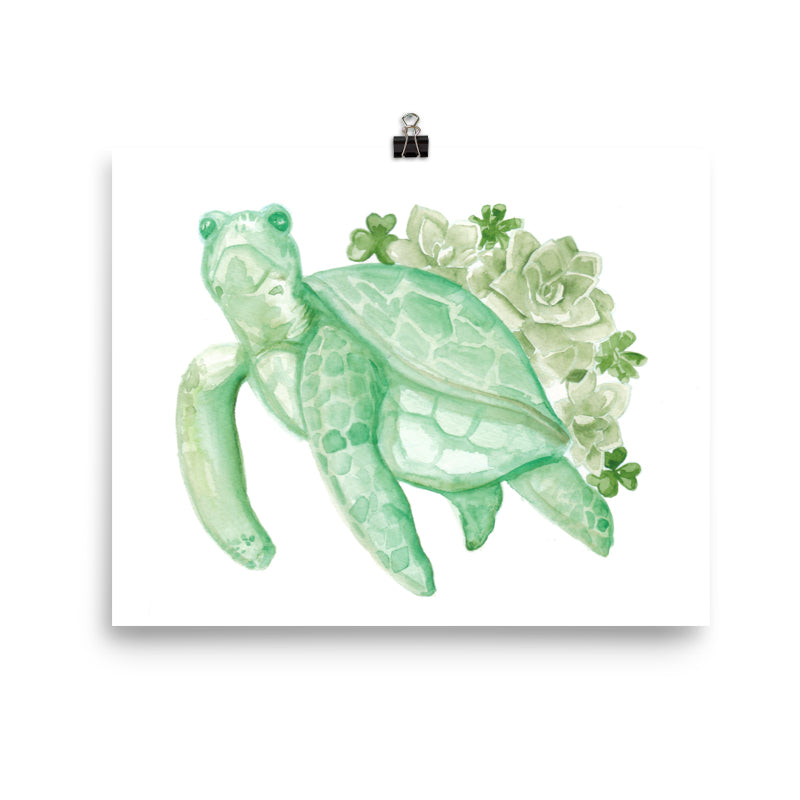 Green Turtle Succulent Print