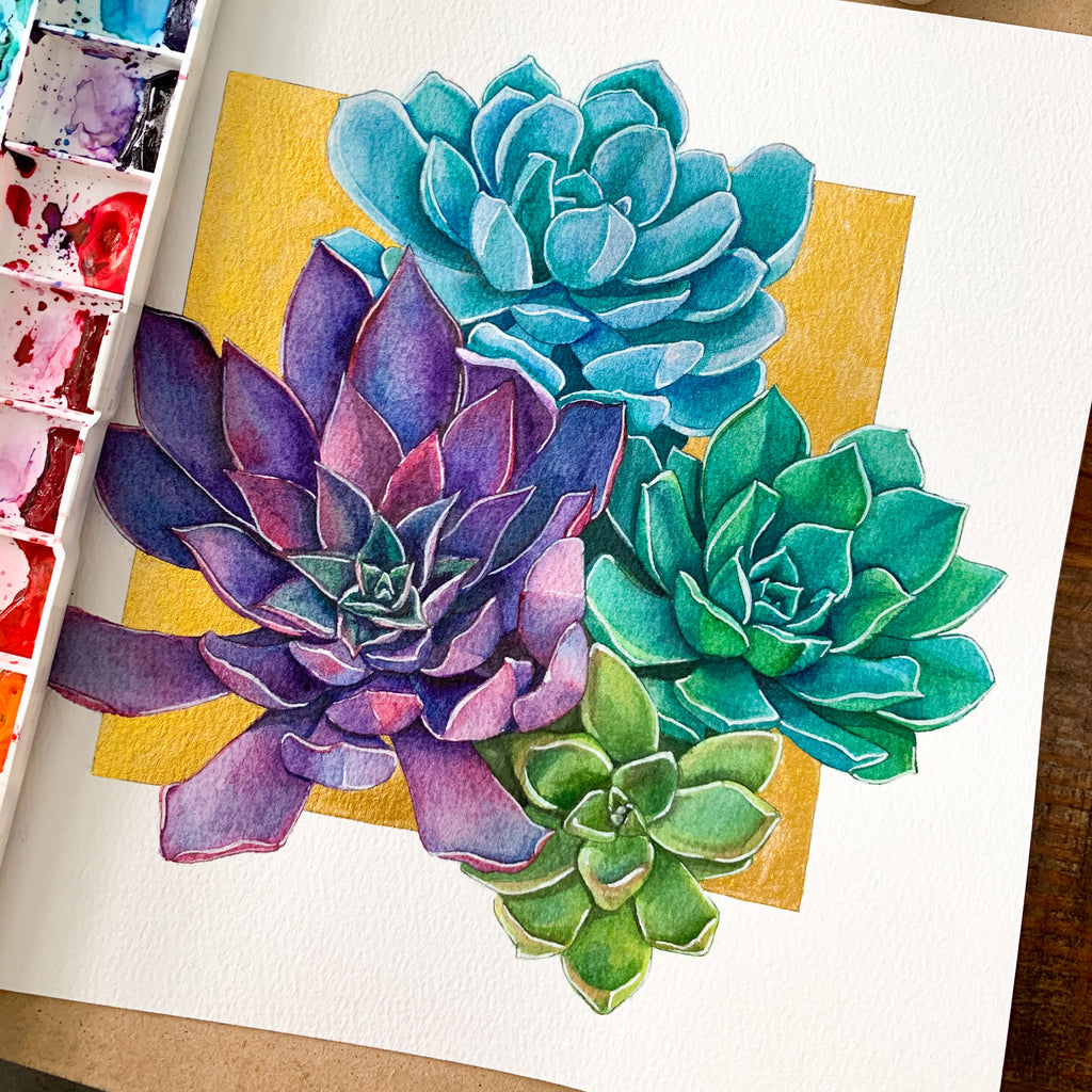 Succulent Bunch Original Watercolor Painting