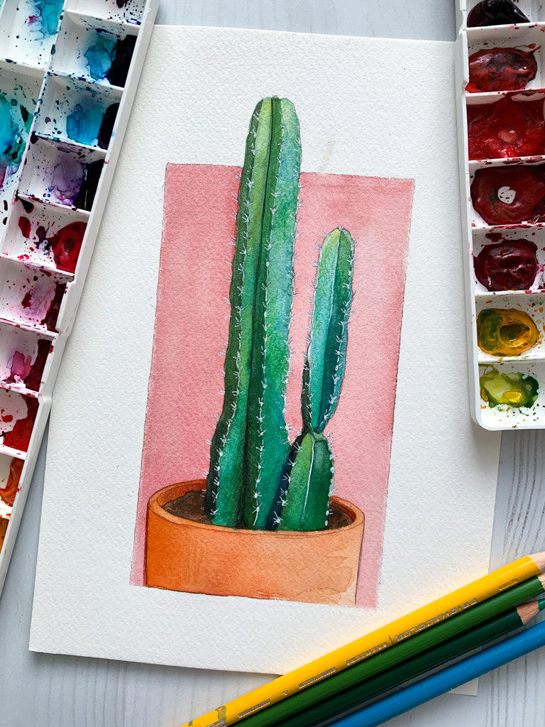 Saguaro Original Watercolor Painting