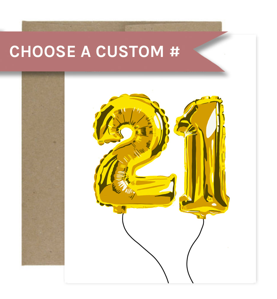 Customizable Gold Balloon Birthday Greeting Card