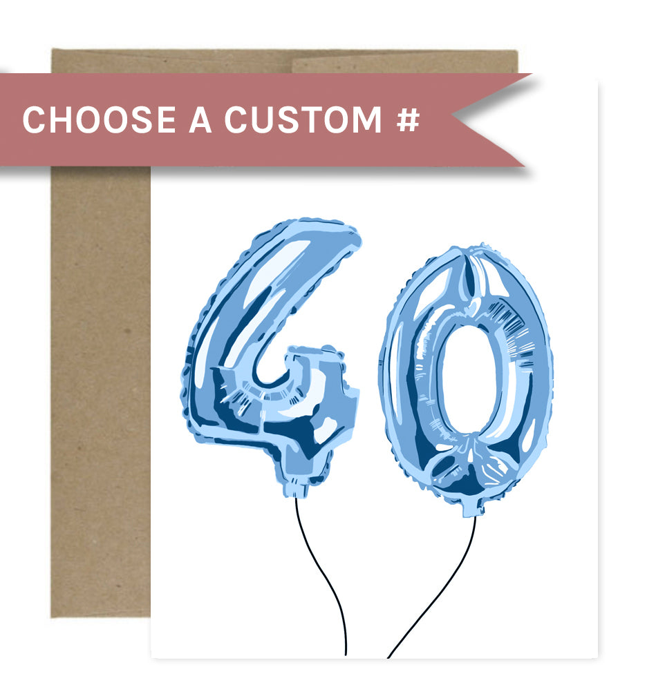 Customizable Blue Balloon Birthday Greeting Card