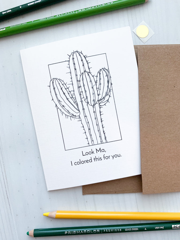 Look Ma Saguaro Greeting Card