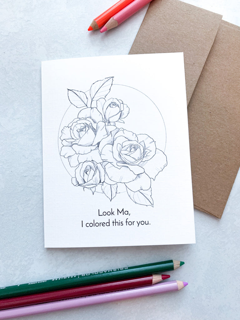Look Ma Roses Greeting Card