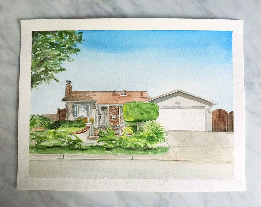 "9"" x 12"" House Portrait Commission by Kimposed"