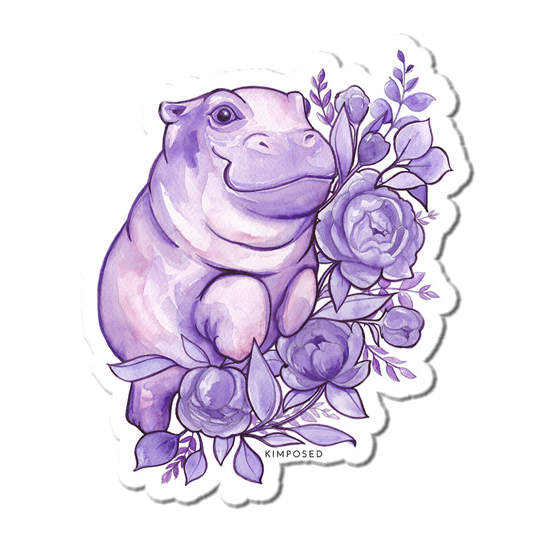 Purple Hippo Sticker