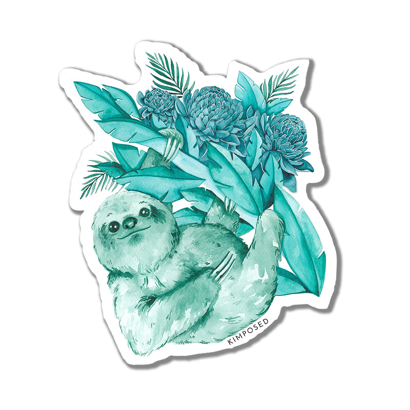 Teal Sloth Sticker