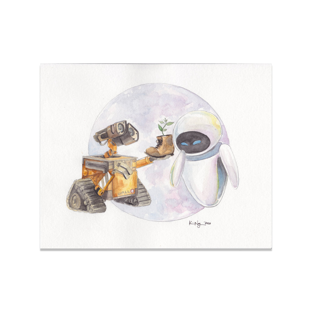 Wall-E & Eve Original Watercolor Painting