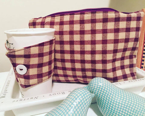 Lumberjane cup collar and matching zipper pouch