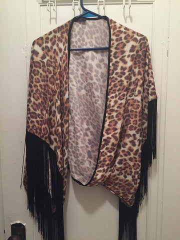 leopard print, fringe, shrug, animal print, plus size