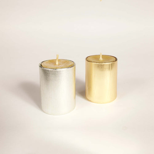 Scented Votive in Gold or Silver Holder