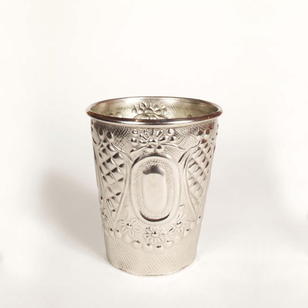 Maia Cup Embossed Silver-Coin Metal Vase