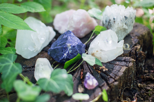 crystals and herbs