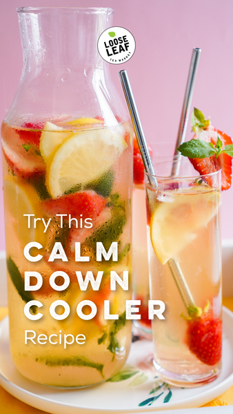 iced tea with fruits on a pink background