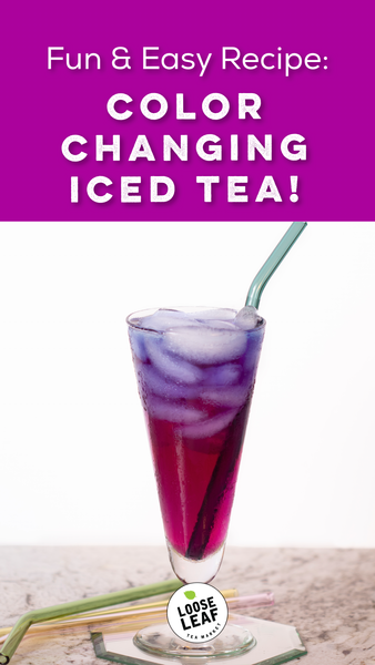 tall glass with color changing iced tea