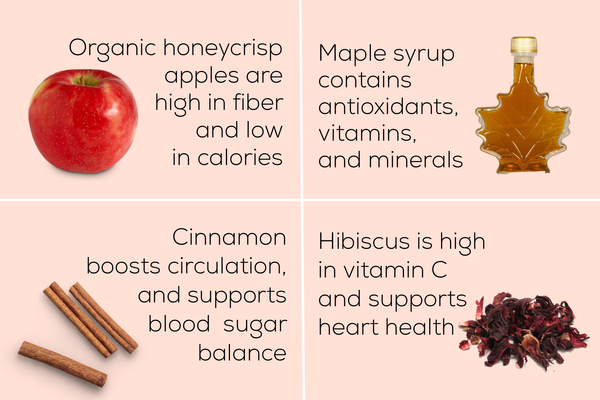 apple, cinnamon, maple, hibiscus, with listed health benefits
