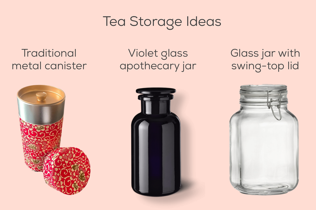 three types of tea storage containers