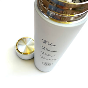 white stainless steel tea tumbler