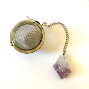 stainless steel tea ball with amethyst